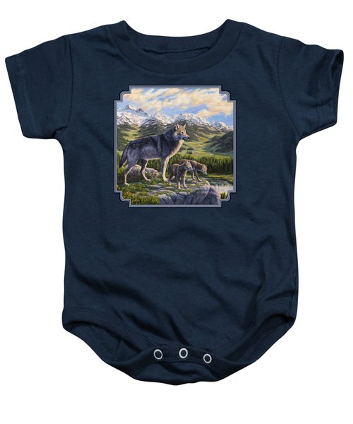 Wolf Painting - Passing It On Baby Onesie by Crista Forest