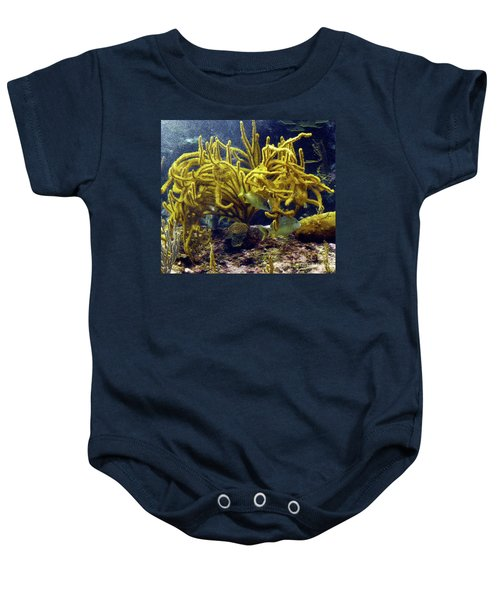 Baby Onesie featuring the photograph Yellow Coral Dance by Francesca Mackenney