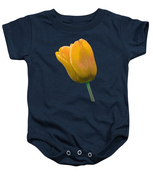 Yellow Tulip On Black Baby Onesie by Gill Billington