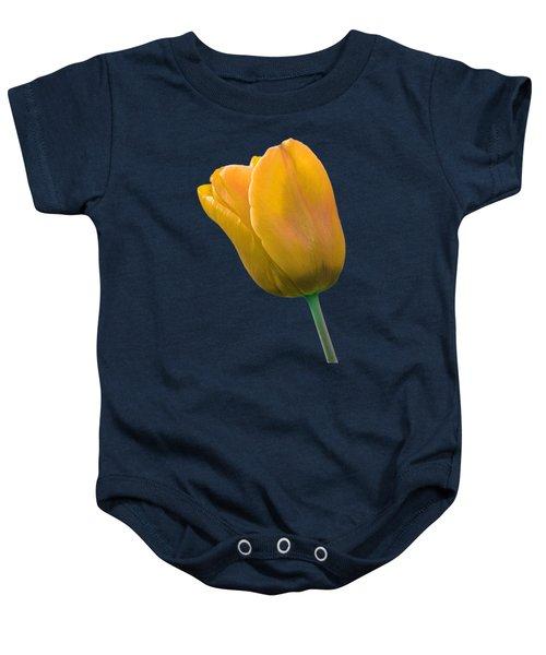 Yellow Tulip On Black Baby Onesie