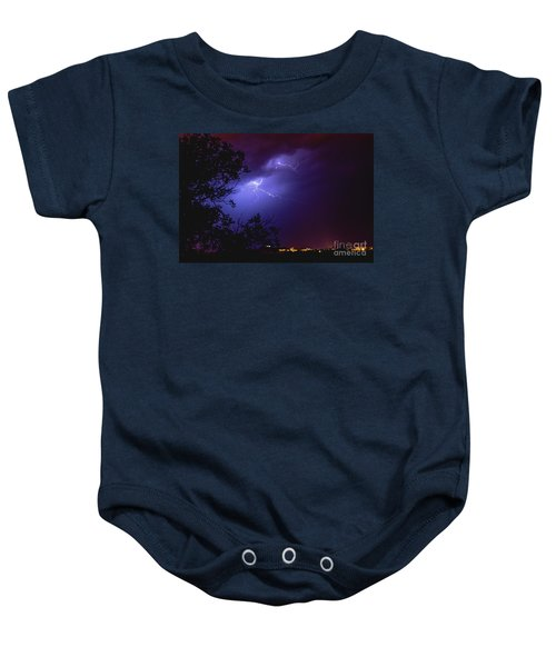 Rays In A Night Storm With Light And Clouds. Baby Onesie