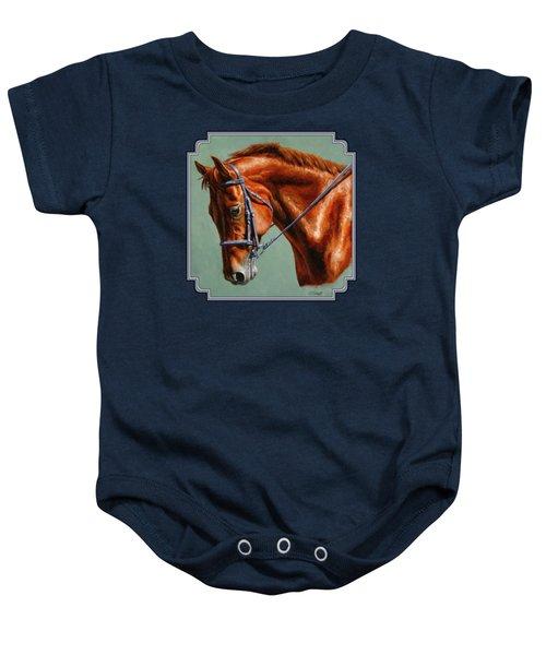 Chestnut Dressage Horse Portrait Baby Onesie