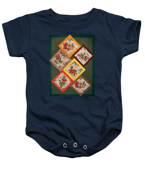 Autumn Fruit And Leaves Baby Onesie
