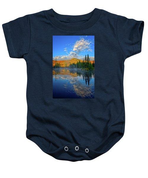 Autumn Sky, Mountain Pond Baby Onesie