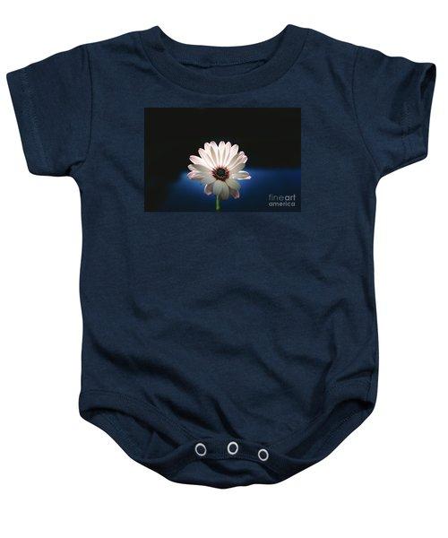 Beautiful And Delicate White Female Flower Dark Background Illum Baby Onesie