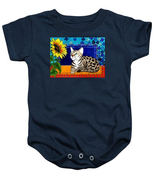 Beauty In Bloom - Savannah Cat Painting Baby Onesie