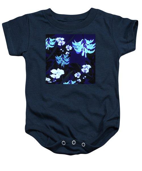 Blue Jungle Floral Baby Onesie