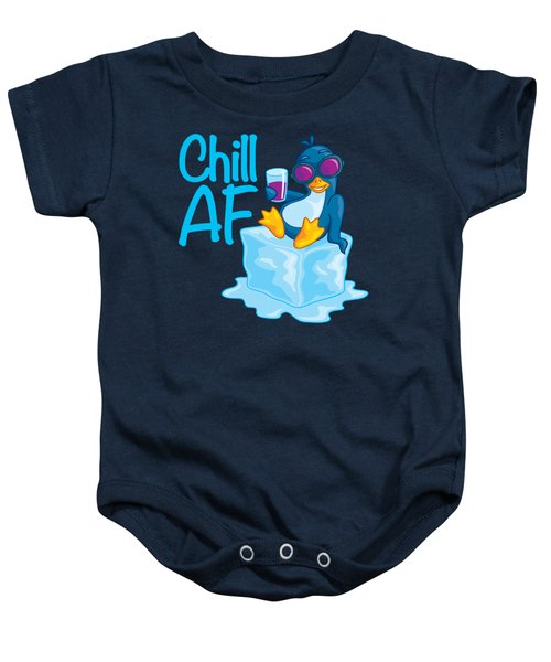 Chill Af Penguin On Ice Baby Onesie