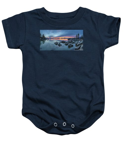 Colorful Sunset At Sand Harbor Panorama Baby Onesie