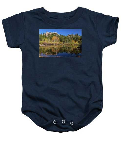 Baby Onesie featuring the photograph Cool Calm Rocky Mountains Autumn Reflections by James BO Insogna