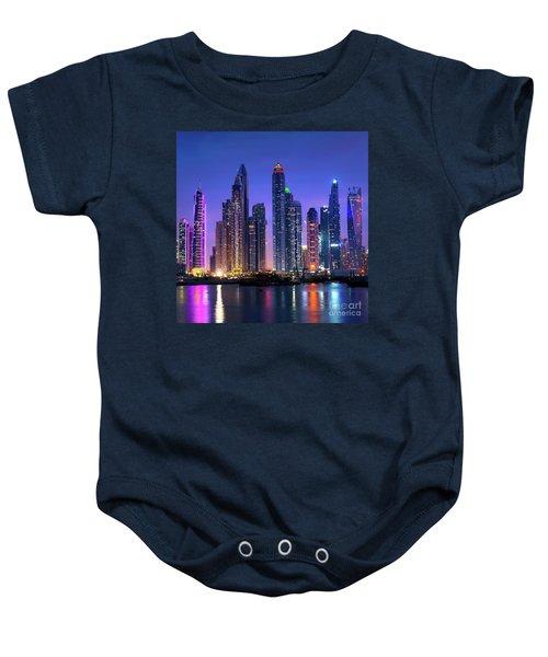 Dubai Marina Skyline At Night Baby Onesie