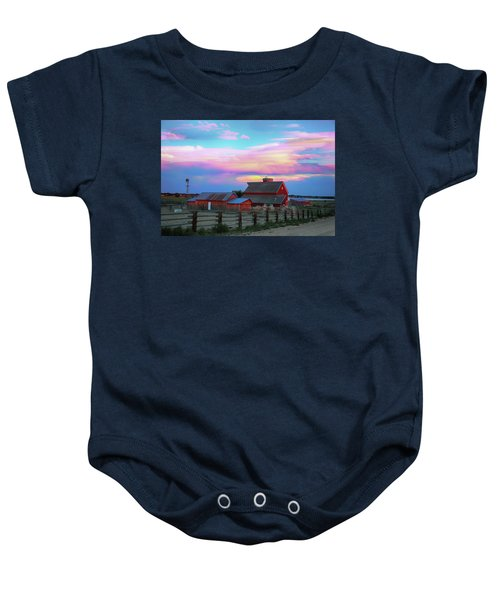 Baby Onesie featuring the photograph Ghost Horses Pastel Sky Timed Stack by James BO Insogna