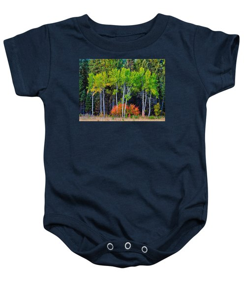 Green Aspens Red Bushes Baby Onesie