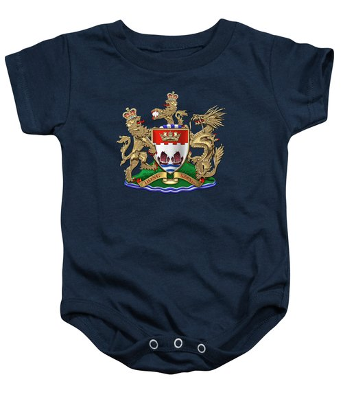 Hong Kong - 1959-1997 Coat Of Arms Over Blue Velvet Baby Onesie