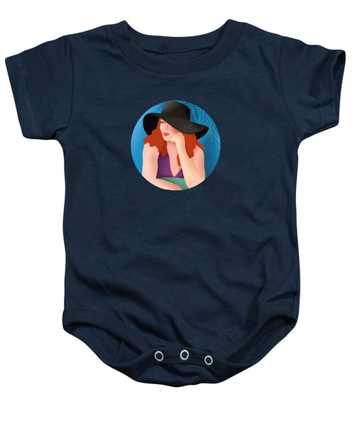 Red Haired Woman In A Black Hat Baby Onesie