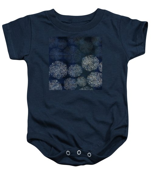 Shibori Sea Urchin Burst Pattern Dark Denim Baby Onesie
