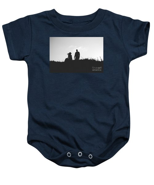 Silhouette Of Couple In Love With Wedding Couple On Top Of A Hil Baby Onesie