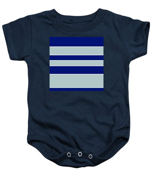 Stacked - Navy, Grey, And White Baby Onesie