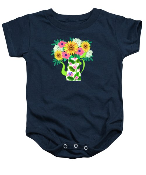 Summer Flowers In Coffee Pot Baby Onesie