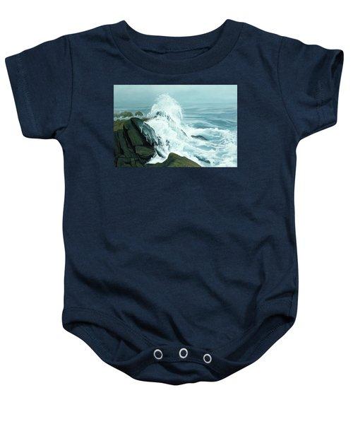 Surging Waves Break On Rocks Baby Onesie