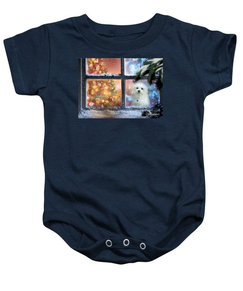 Baby Onesie featuring the mixed media Where Is Santa ? by Morag Bates