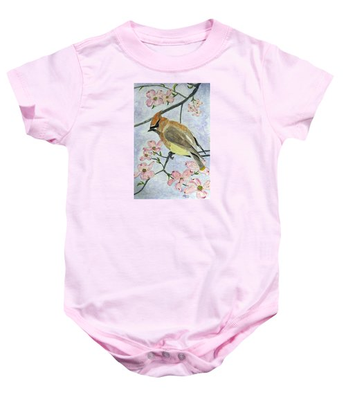 A Waxwing In The Dogwood Baby Onesie