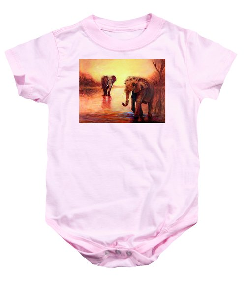 African Elephants At Sunset In The Serengeti Baby Onesie