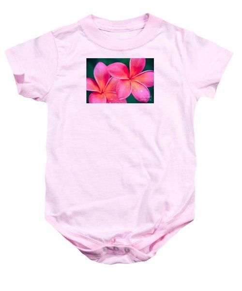 Aloha Hawaii Kalama O Nei Pink Tropical Plumeria Baby Onesie