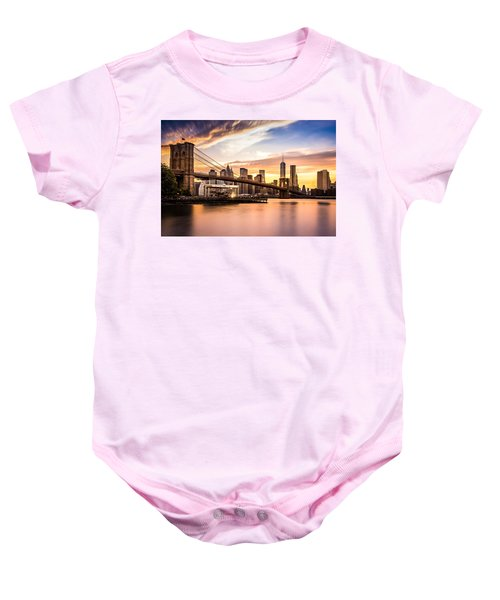Brooklyn Bridge At Sunset  Baby Onesie