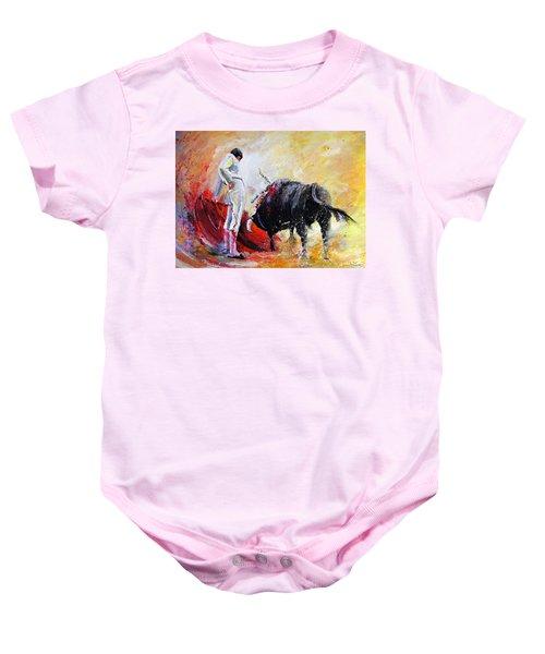 Bull In Yellow Light Baby Onesie