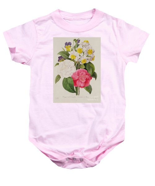Camellias Narcissus And Pansies Baby Onesie