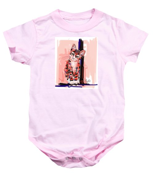 Baby Onesie featuring the painting Cat I See You by Go Van Kampen