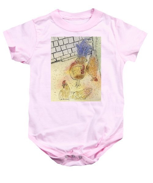 Chickens At Pei Baby Onesie