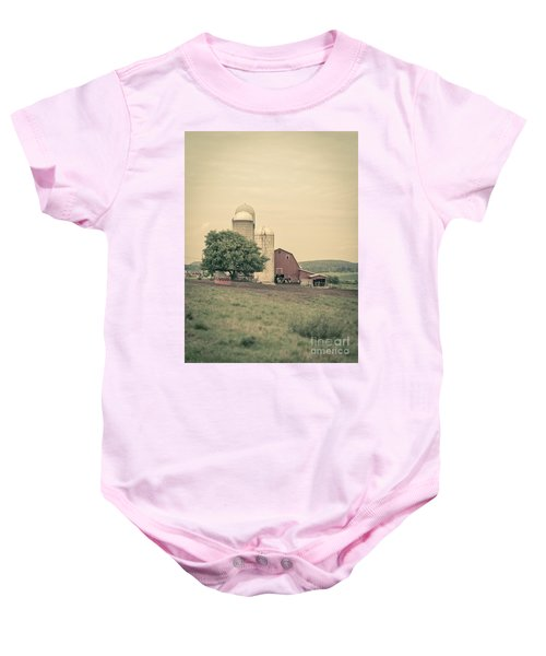Classic Farm With Red Barn And Silos Baby Onesie