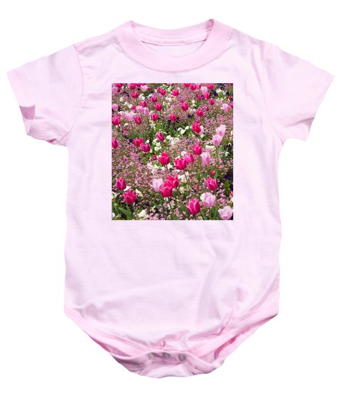 Colorful Pink Tulips And Other Flowers In Spring Baby Onesie by Matthias Hauser