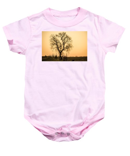 Country Fence Sunset Baby Onesie