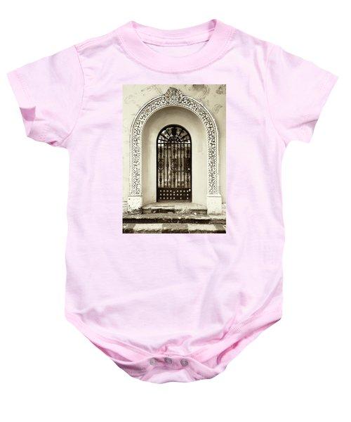 Door With Decorated Arch Baby Onesie