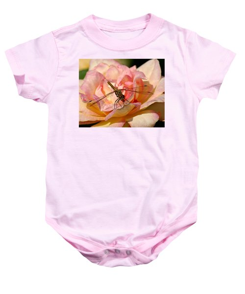 Dragonfly On A Rose Baby Onesie