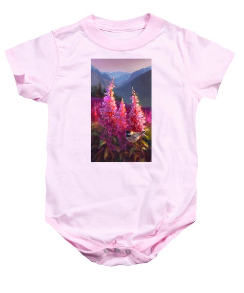 Eagle River Summer Chickadee And Fireweed Alaskan Landscape Baby Onesie