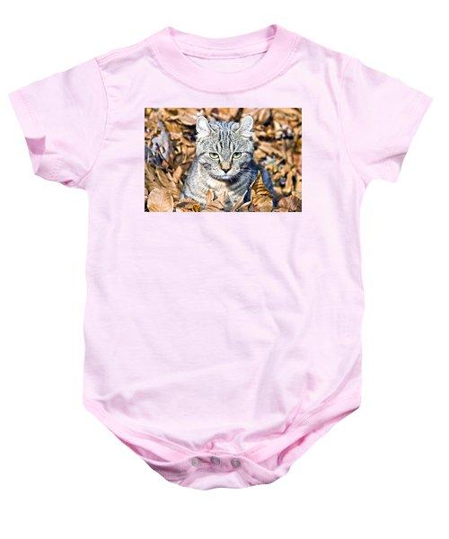 Kitten In Leaves Baby Onesie