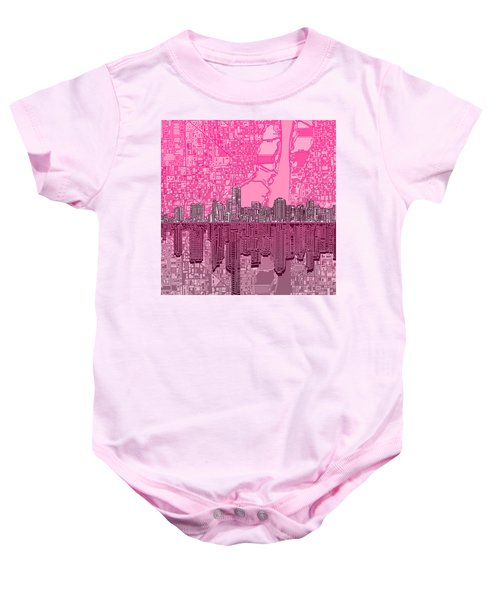 Miami Skyline Abstract 4 Baby Onesie by Bekim Art