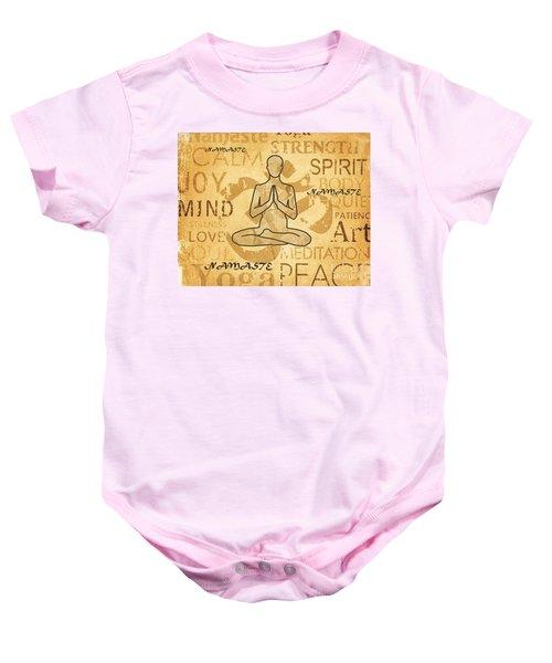 Namaste Yoga Golden Lotus Typography On Watercolor Baby Onesie