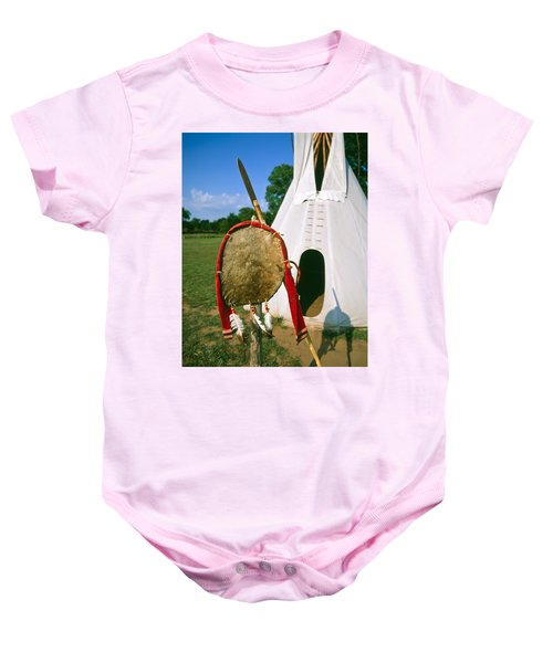 Native American Shield And Spear Baby Onesie