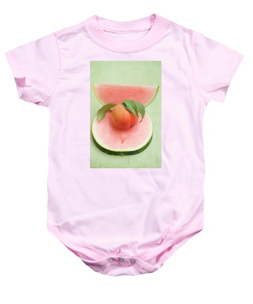 Nectarine With Leaves, Slice And Wedge Of Watermelon Baby Onesie