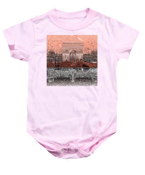 Paris Skyline Landmarks 2 Baby Onesie