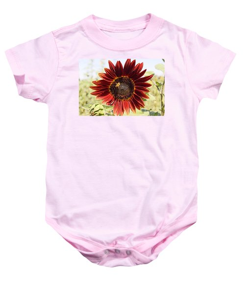 Red Sunflower And Bee Baby Onesie