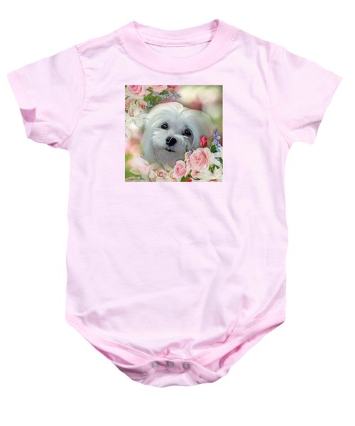Baby Onesie featuring the photograph Snowdrop The Maltese by Morag Bates