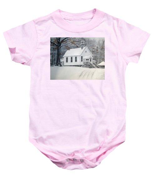 Snowy Gates Chapel  -little White Church - Ellijay Baby Onesie