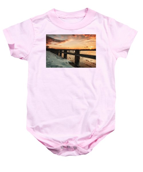 Snowy Sunset In Northport New York Baby Onesie