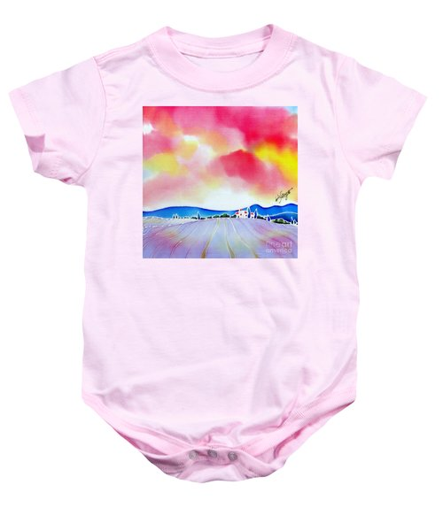 Sunset On The Lavender Farm  Baby Onesie